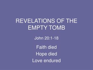 REVELATIONS OF THE EMPTY TOMB