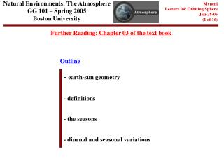 Natural Environments: The Atmosphere GG 101 – Spring 2005 Boston University
