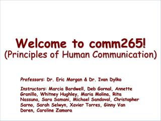 Welcome to comm265! (Principles of Human Communication)