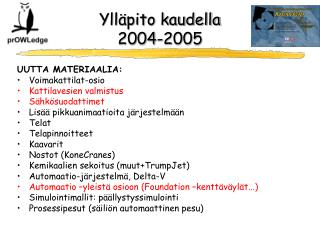 Ylläpito kaudella  2004-2005
