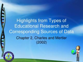 Highlights from Types of Educational Research and Corresponding Sources of Data
