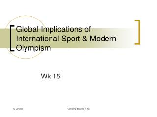Global Implications of International Sport & Modern Olympism