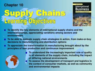 Chapter 10 Supply Chains