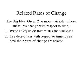 Related Rates of Change