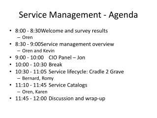 Service Management - Agenda