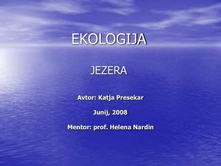 EKOLOGIJA JEZERA