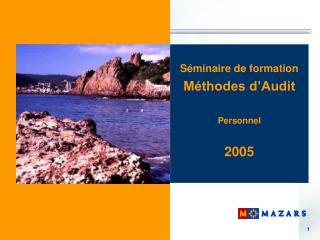 S�minaire de formation M�thodes d�Audit Personnel 2005