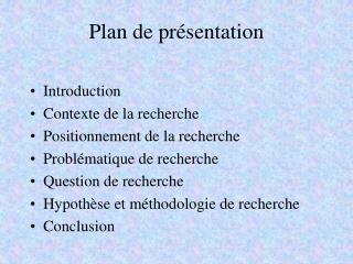 Plan de présentation