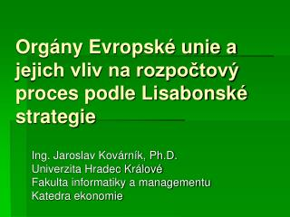 Orgány Evropské unie a jejich vliv na rozpočtový proces podle Lisabonské strategie