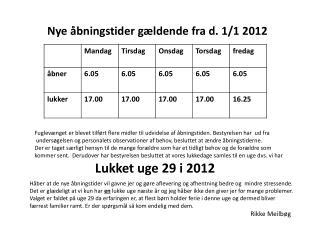 Nye åbningstider gældende fra d. 1/1 2012