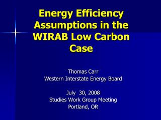 Energy Efficiency Assumptions in the WIRAB Low Carbon Case