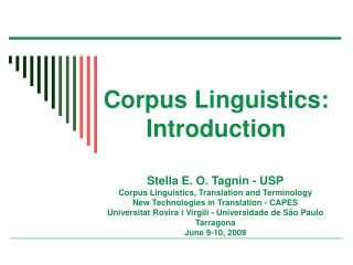 Corpus Linguistics: Introduction
