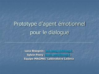 Prototype d'agent émotionnel pour le dialogue