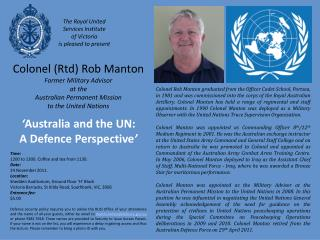Colonel (Rtd) Rob Manton Former  Military Advisor at the Australian Permanent Mission