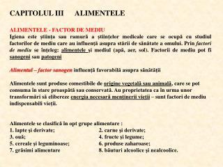 CAPITOLUL I II       ALIMENTELE ALIMENTELE - FACTOR DE MEDIU