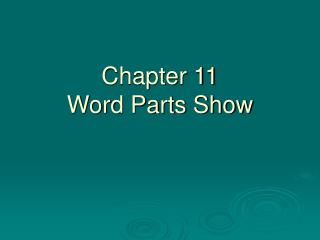 Chapter 11 Word Parts Show