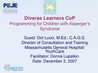 Diverse Learners CoP Programming for Children with Asperger's Syndrome