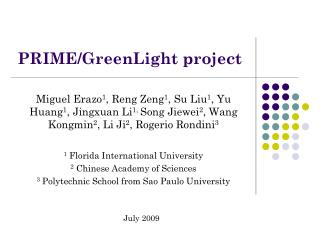 PRIME/GreenLight project