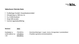 Københavns Tekniske Skole 9 afdelinger fordelt i Hovedstadsområdet Omsætning ca. 500 mio. kr.
