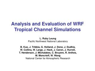 Analysis and Evaluation of WRF Tropical Channel Simulations