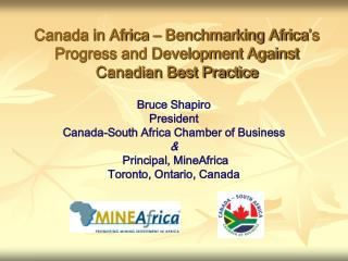 Canada in Africa   Benchmarking Africa s Progress and Development Against Canadian Best Practice