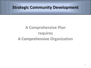 A Comprehensive Plan  requires A Comprehensive  Organization