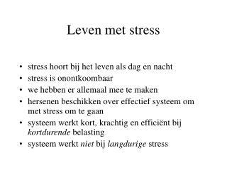 Leven met stress