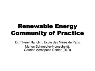 Renewable Energy Community of Practice