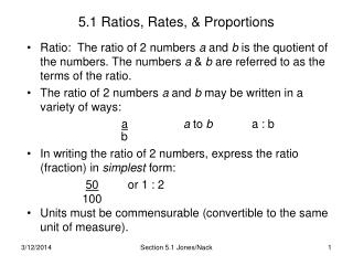 5.1 Ratios, Rates,  Proportions
