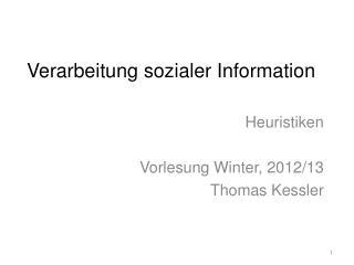 Verarbeitung sozialer Information