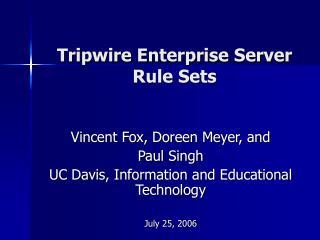 Tripwire Enterprise Server   Rule Sets