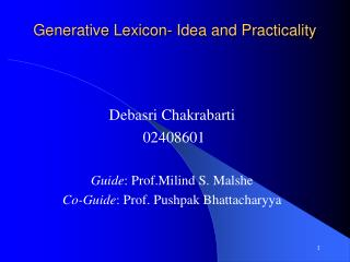 Generative Lexicon- Idea and Practicality