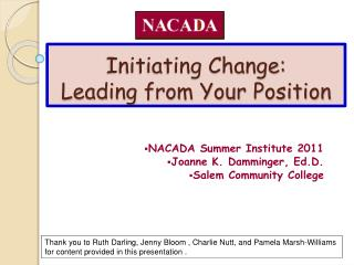 Initiating Change: Leading from Your Position
