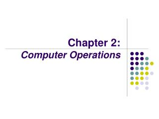 Chapter 2:  Computer Operations