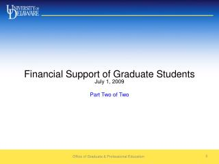 Financial Support of Graduate Students