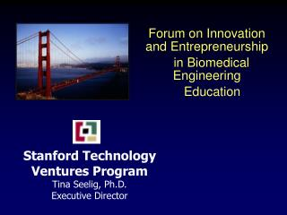 Stanford Technology  Ventures Program Tina Seelig, Ph.D. Executive Director