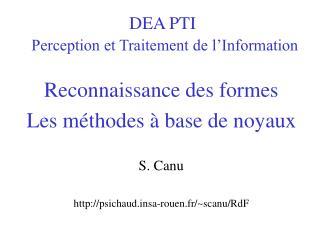 DEA PTI Perception et Traitement de l'Information