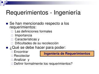 Requerimientos - Ingeniería