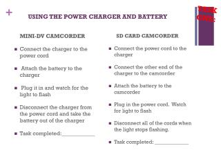 USING THE POWER CHARGER AND BATTERY