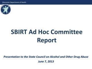 SBIRT Ad Hoc Committee Report