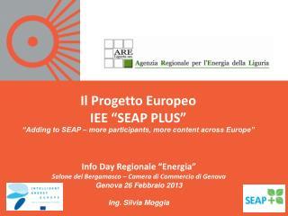"""Il Progetto Europeo  IEE """"SEAP PLUS"""""""