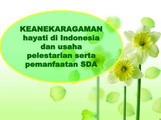 KEANEKARAGAMAN hayati di Indonesia dan usaha pelestarian serta pemanfaatan SDA