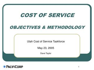 COST OF SERVICE  OBJECTIVES & METHODOLOGY