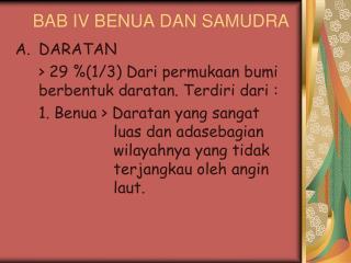 BAB IV BENUA DAN SAMUDRA