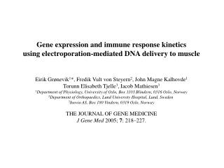 Gene expression and immune response kinetics using electroporation-mediated DNA delivery to muscle