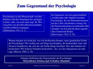 Zum Gegenstand der Psychologie