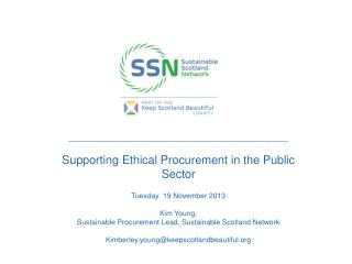 _____________________________________________ Supporting Ethical Procurement in the Public Sector