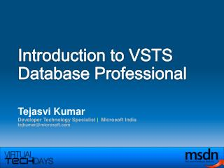 Introduction to VSTS Database Professional