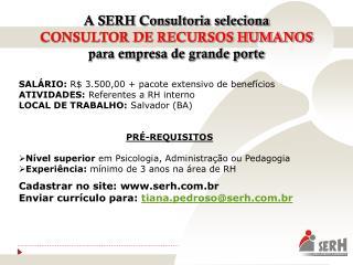 A SERH Consultoria seleciona  CONSULTOR DE RECURSOS HUMANOS para empresa de grande porte
