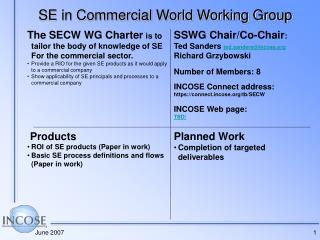 SE in Commercial World Working Group